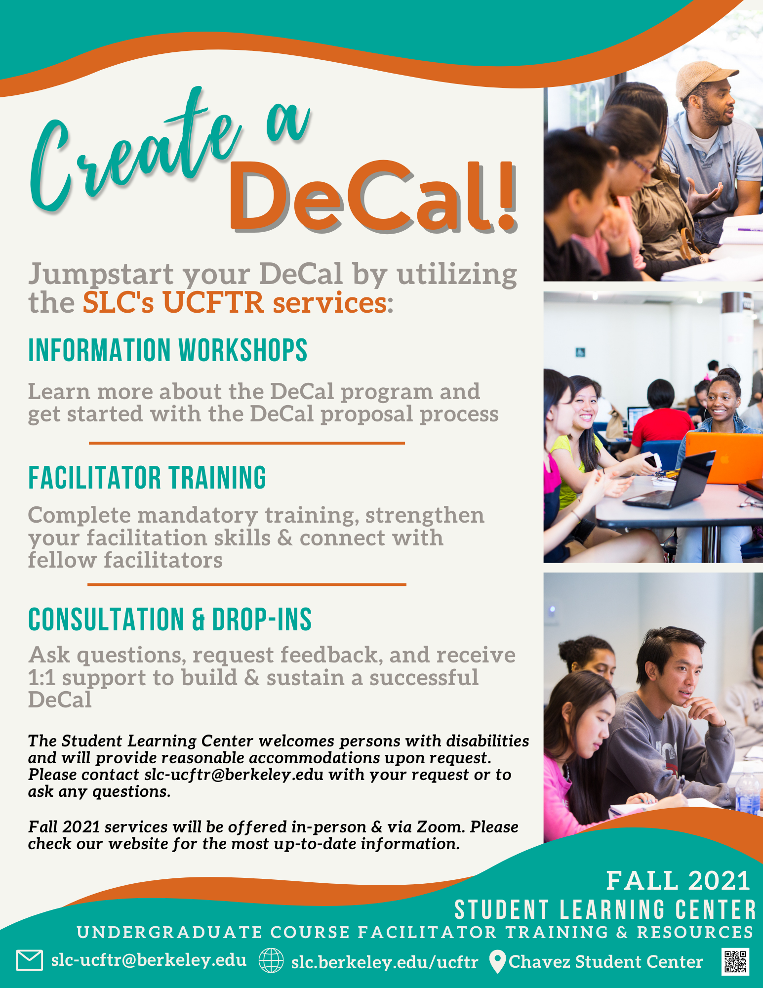 Flyer for Fall 2021 UCFTR Programs. Waves of turquoise and burnt orange frame the top and bottom of the flyer. The background color is a subtle tan and three photos line the right-hand side of the flyer.